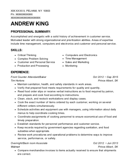 Front Counter Attendant resume format New York