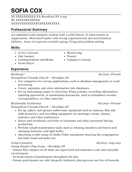 Bookeeper resume template New York