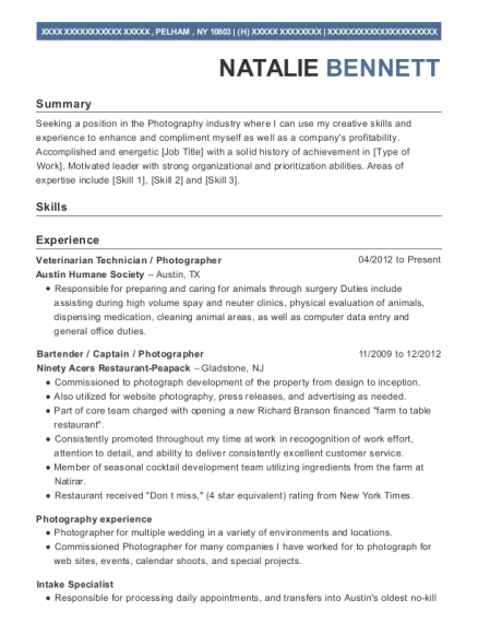 Veterinarian Technician resume format New York