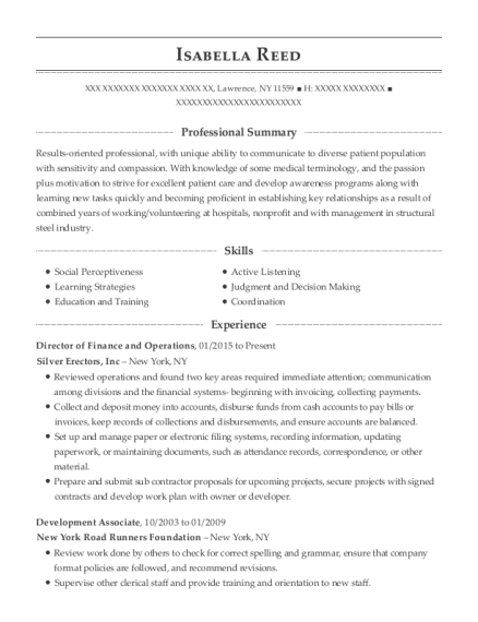 Director of Finance and Operations resume sample New York