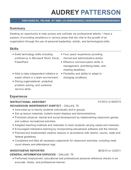 INSTRUCTIONAL ASSISTANT resume sample New York