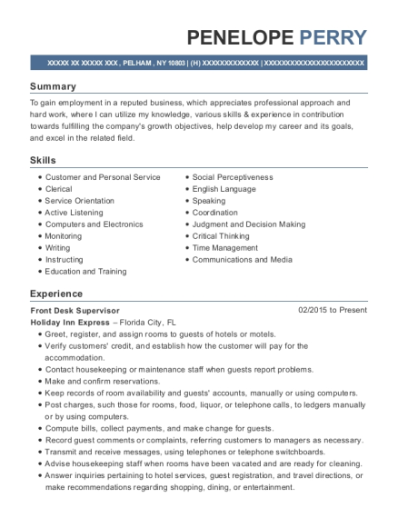 Front Desk Supervisor resume sample New York