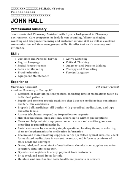 Pharmacy Assistant resume template New York
