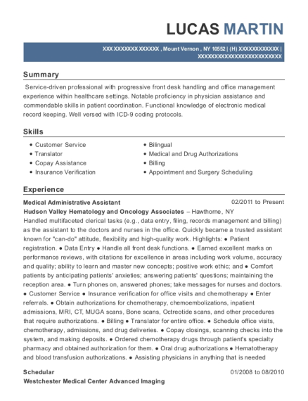 Medical Administrative Assistant resume sample New York