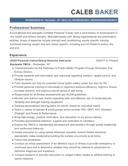 LEAD Personal trainer resume format New York