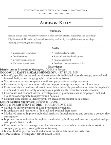 District Asset Protection Manager resume sample New York