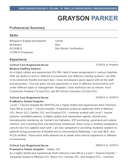 Critical Care Registered Nurse resume template New York