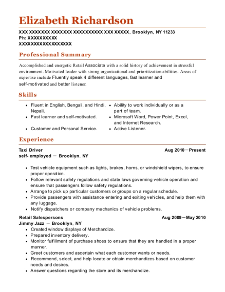 Taxi Driver resume example New York