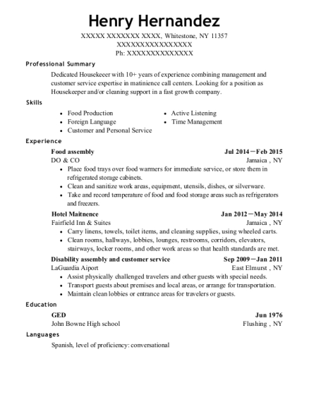 Food assembly resume sample New York
