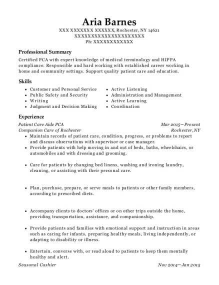 Patient Care Aide PCA resume sample New York