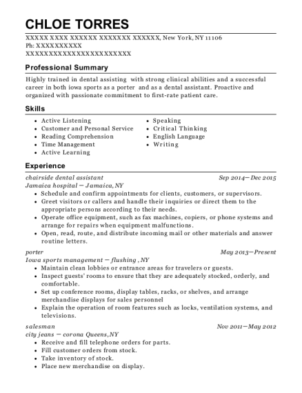 chairside dental assistant resume example New York
