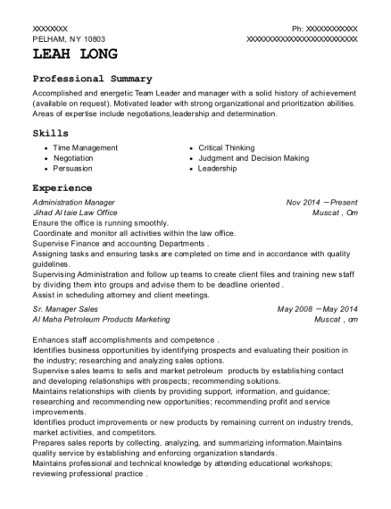 Administration Manager resume format New York
