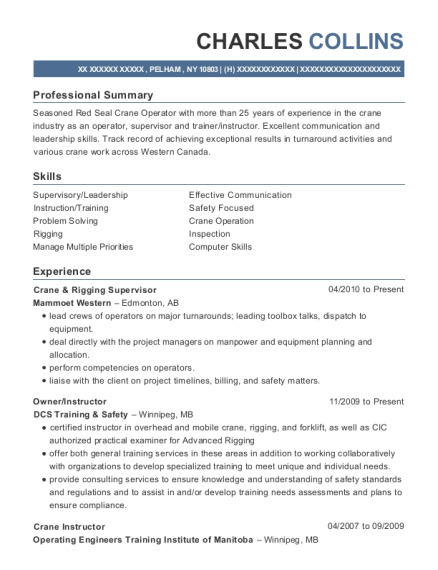 Crane & Rigging Supervisor resume template New York