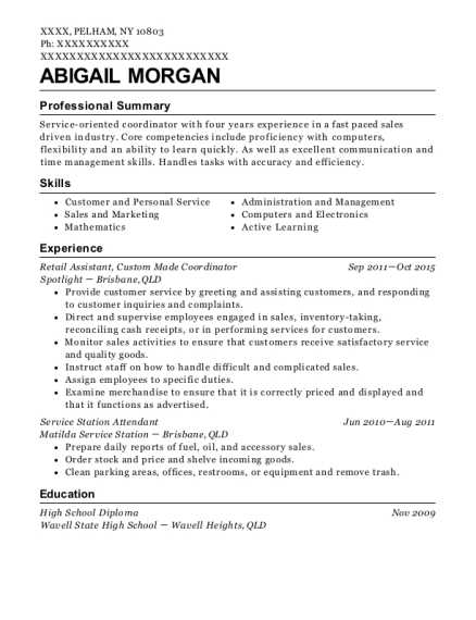 Retail Assistant resume example New York