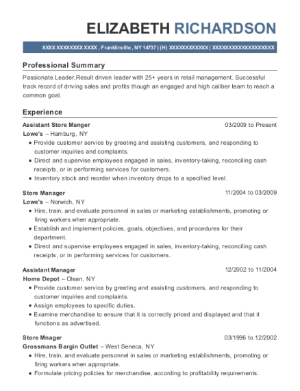 Assistant Store Manger resume example New York
