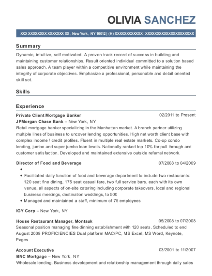 Private Client Mortgage Banker resume example New York