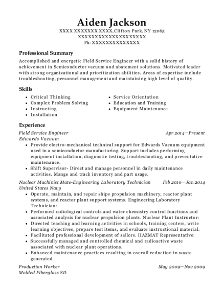 Field Service Engineer resume format New York