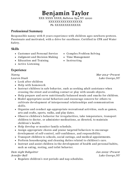 Nanny resume template New York