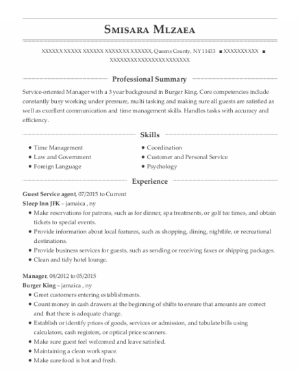 Guest Service agent resume example New York