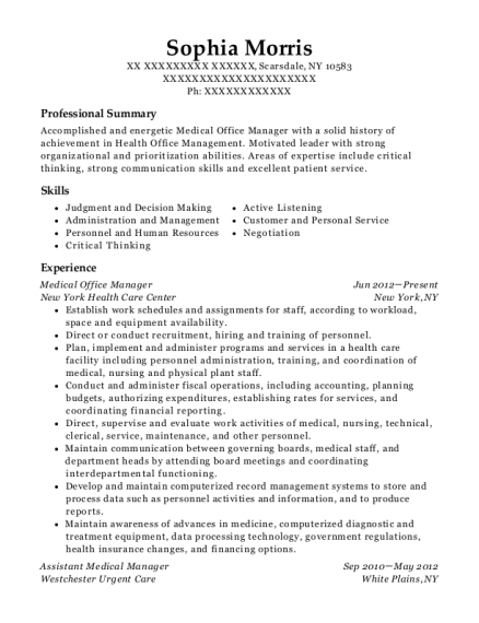 Medical Office Manager resume example New York