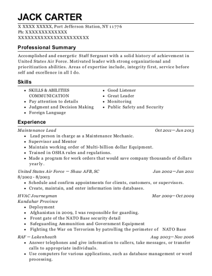 Maintenance Lead resume format New York