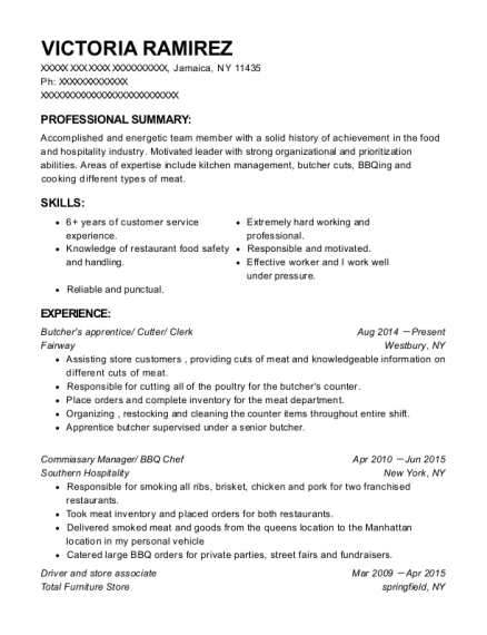Butchers apprentice resume format New York