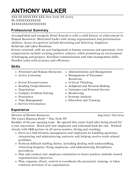 Director of Human Resources resume format New York