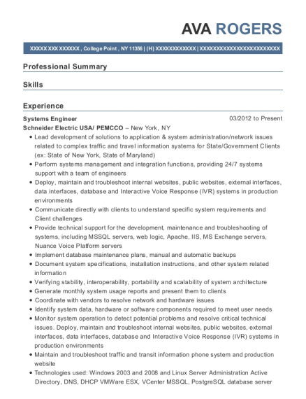 Systems Engineer resume template New York