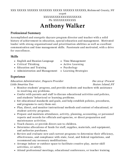 Education Administrator resume template New York