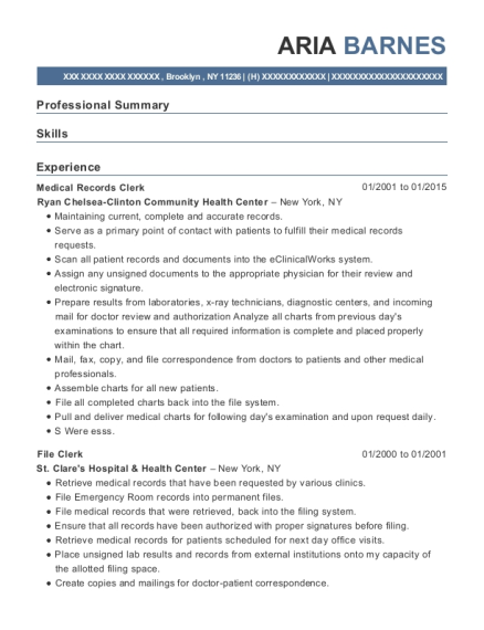 Medical Records Clerk resume example New York