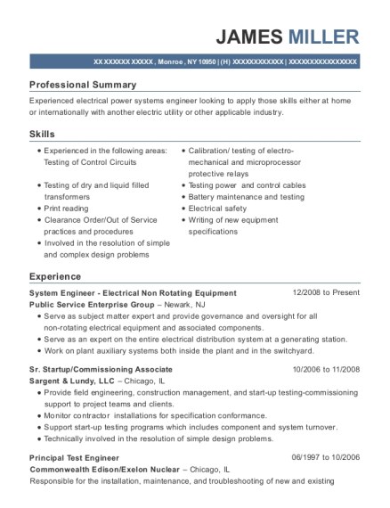 System Engineer Electrical Non Rotating Equipment resume template New York