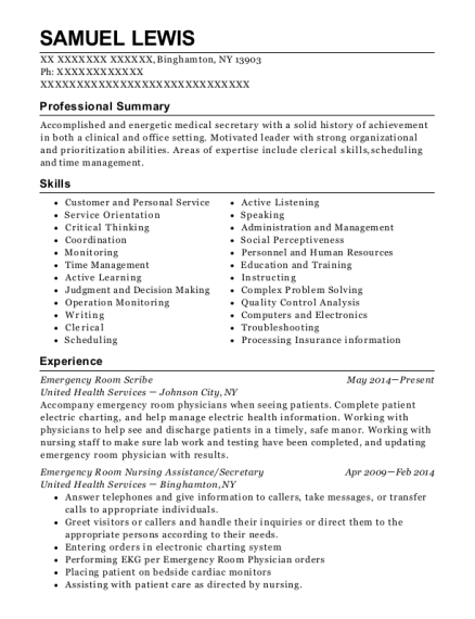 Emergency Room Scribe resume sample New York