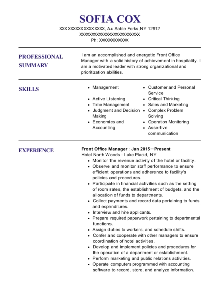 Front Office Manager resume sample New York