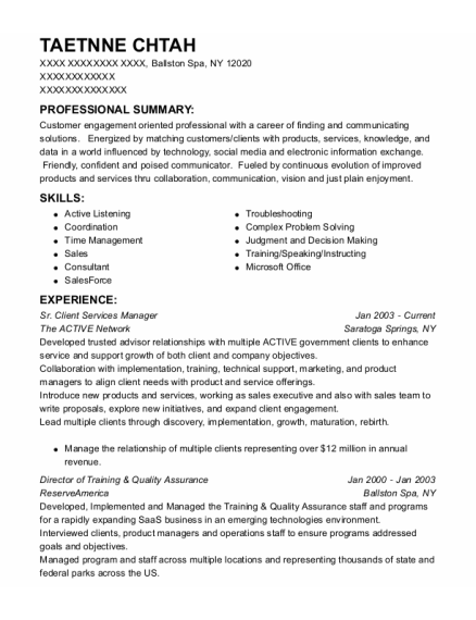 Sr Client Services Manager resume example New York