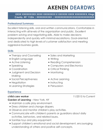 child care worker resume format New York