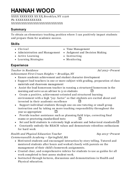 Teacher in Residence resume template New York