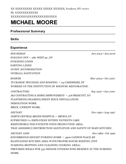 Houseman resume example New York