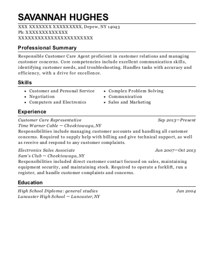 Customer Care Representative resume format New York