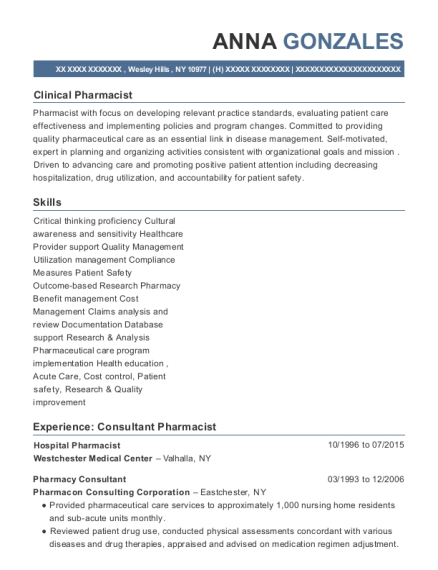 Hospital Pharmacist resume sample New York