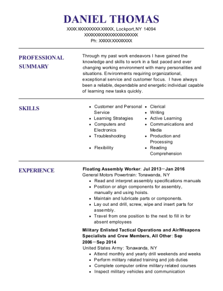 Floating Assembly Worker resume template New York