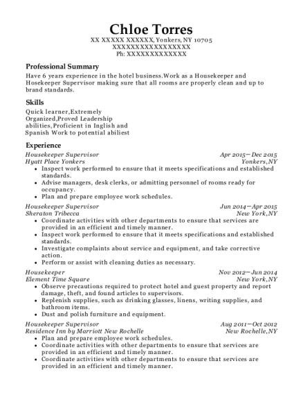 Housekeeper Supervisor resume example New York