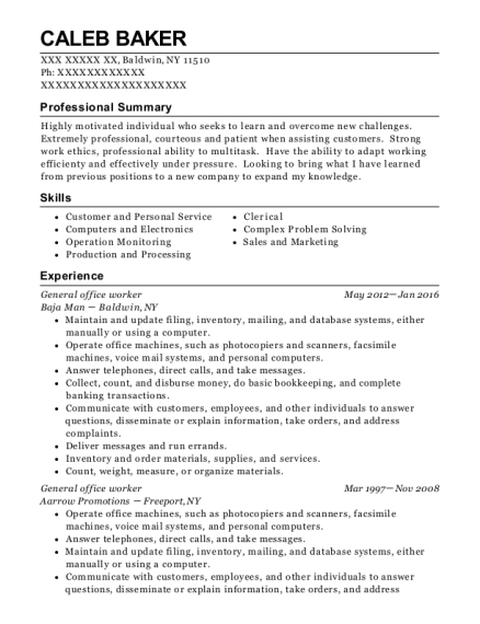 General office worker resume template New York