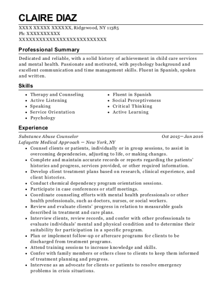 Substance Abuse Counselor resume example New York