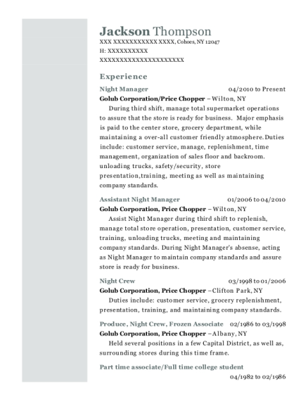 Night Manager resume sample New York