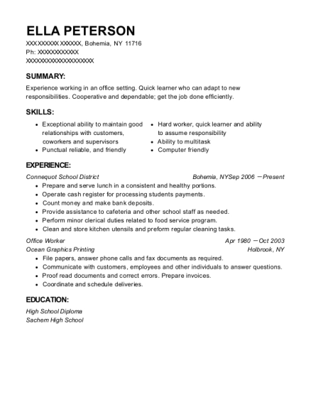 Office Worker resume example New York
