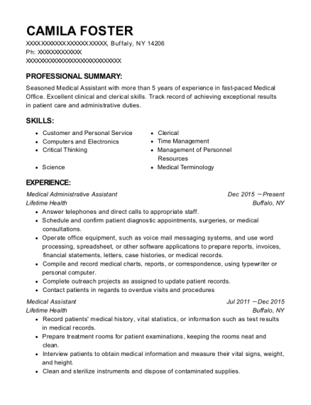 Medical Administrative Assistant resume format New York