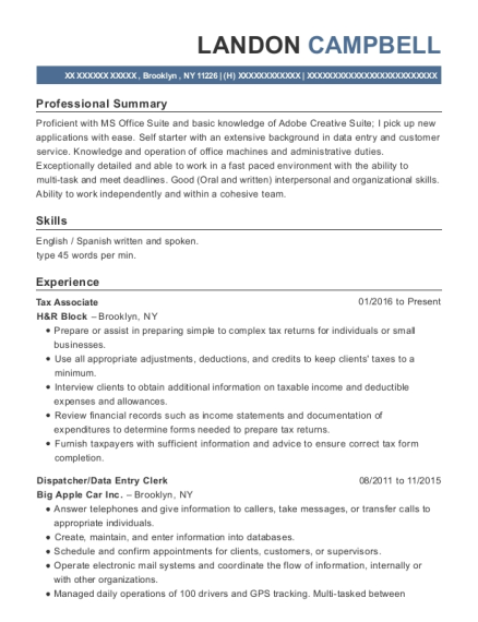 Tax Associate resume sample New York