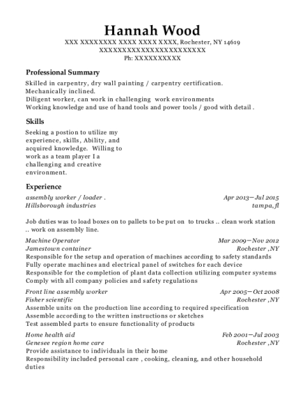 assembly worker resume format New York
