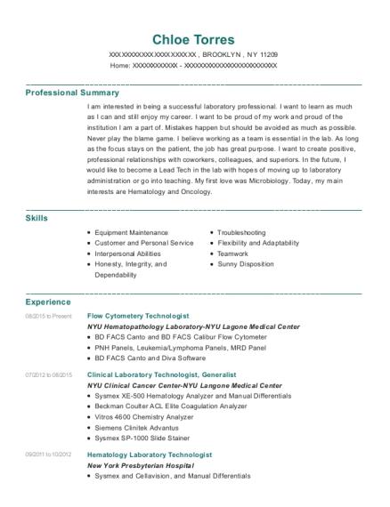Flow Cytometery Technologist resume example New York