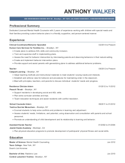 Clinical Coordinator resume example New York